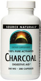 UK BuyCharcoal, 260 mg, 200 Caps, Source Naturals, Digestive Aid