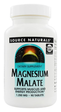 Magnesium Malate 1250 mg 90 Tabs Source Naturals, UK Store