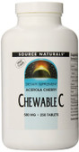Acerola Cherry Chewable C 500 mg 250 Tabs, Source Naturals, UK