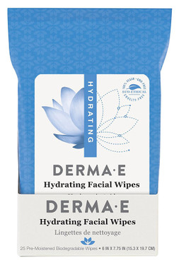 Hydrating Facial Wipes 25 Pre-Moistened Compostable Wipes Derma E