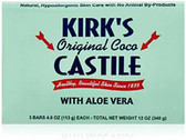 Buy Original Coco Castile Bar Soap with Aloe Vera 3 Bars 4 oz (113 g) Each Kirk's Online, UK Delivery, Vegan Cruelty Free Product Gluten Free Product