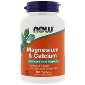 UK Buy Magnesium & Calcium 1:2 Ratio, 100 Tabs, Now Foods, Bones