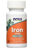 Iron 18 mg Ferrochel 120 vCaps Now Foods, Energy, Immune
