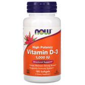 UK Buy Vitamin D3 1000IU, 180 Softgels, Now Foods, Immune, Bones