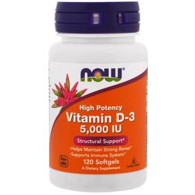 UK Buy Vitamin D3 5000IU, 120 Softgels, Now Foods, Bones, Immune