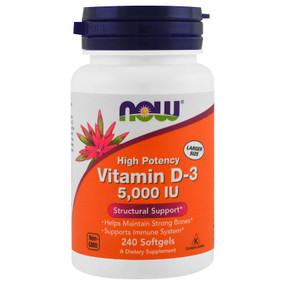 Buy UK Vitamin D-3 5000IU 240 Softgels Now Foods, Bones