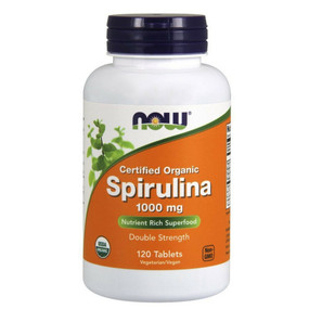 Certified Organic Spirulina 1000 mg 120 Tabs, Now Foods
