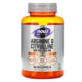 Arginine & Citrulline 500/250 120 Caps, Now Foods