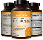 UK Buy 150 Billion CFU Time-Release Probiotics 60 Caps, NatureWise, Digestion