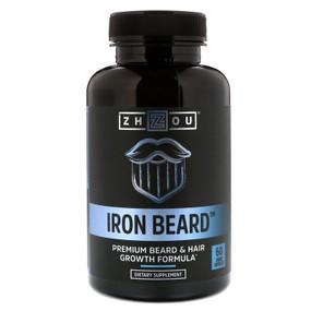 Buy UK Iron Beard 60 Caps Zhou, Beard Growth & Hair Nutrition, Biotin, Collagen