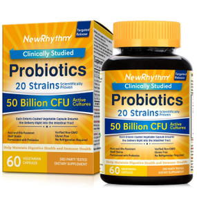 Buy UK Probiotics 50 Billion 60 Veggie Caps, NewRhythm