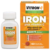 Buy UK Iron High Potency with Vitamin C, 60 Tabs, Vitron-C