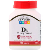 UK Buy Vitamin D, 1000iu D3, 110 Tabs, 21st Century