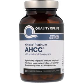 Kinoko Platinum AHCC, 750 mg, 60 Caps, Quality of Life