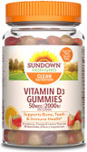 UK Buy Vitamin D3, Strawberry, Orange, 50 mcg (2,000 IU), 90 Gummies, Sundown