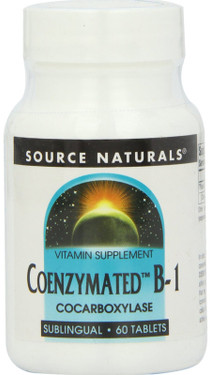 Coenzymated B-1 25 mg 60 Sublingual, Source Naturals, Cocarboxylase