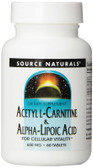 Acetyl L-Carnitine & Alpha-Lipoic Acid 650 mg 60 Tabs Source Naturals, UK