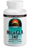 Mega-GLA 240 120 Softgels Source Naturals, Borage Seed Oil,