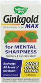 Ginkgold Max 120mg 60 Tabs, Nature's Way, Memory, UK Supplements