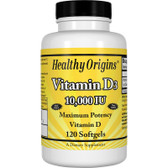 Healthy Origins Vitamin D3 10, 000 IU 120 Softgels , UK Store