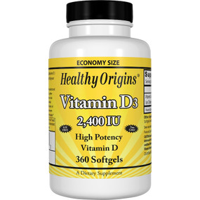 Healthy Origins Vitamin D3 2400IU 360 Softgels, UK Store