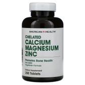 UK Buy Chelated Calcium & Magnesium Zinc 250 Tabs, AmericanHealth