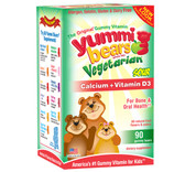Calcium w/ Vitamin D Vegetarian Gummy 60 Gummies, Yummi Bears, Bones
