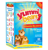Vitamin D Supplement 60 Gummies, Yummi Bears, Bone Health
