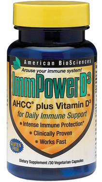 Buy UK ImmPower D3 30 Caps, AHCC Plus Vitamin D3, American Biosciences