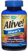 Alive! Men's Gummy Multi Vitamin 75 Gummies, Nature's Way