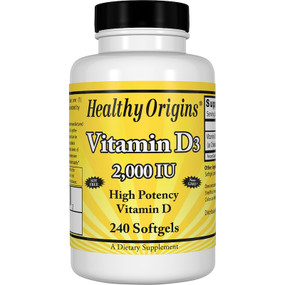 Vitamin D3 2,000 IU 240 Softgels Healthy Origins, UK Store