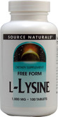 Buy UK L-Lysine 1000 mg 100 Tabs Source Naturals, Cold Sores