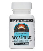 Mega-Folinic 800mcg 120 Tabs Source Naturals Folic Acid