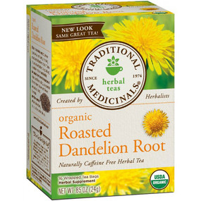 Organic Roasted Dandelion Root 16 Bags Traditional Medicinals, Liver