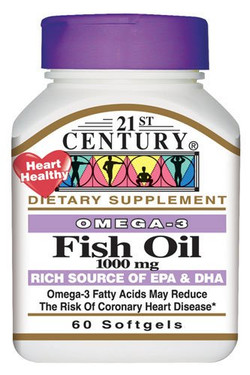 Buy Fish Oil 1000 mg 60 sGels 21st Century Health Online, UK Delivery, EFA Omega EPA DHA