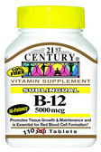 Buy Sublingual B-12 5000 mcg 110 Tabs 21st Century Health Online, UK Delivery, Vitamin B12 Cyanocobalamin