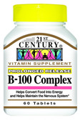 Buy B-100 Complex Prolonged Release 60 Caplets 21st Century Health Online, UK Delivery, Vitamin B Complex