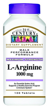 Buy L-Arginine Maximum Strength 1000 mg 100 Tabs 21st Century Health Online, UK Delivery, Amino Acid