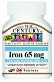 Buy Iron 65 mg 100 Tabs 21st Century Health Online, UK Delivery, Mineral Supplements