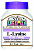 Buy L-Lysine 600mg 90 Tabs 21st Century Health Online, UK Delivery, Amino Acid