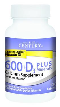 Buy 600+D3 Plus Minerals 120 Caplets 21st Century Health Online, UK Delivery, Mineral Supplements