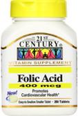 Buy Folic Acid 400 mcg 250 Tabs 21st Century Health Online, UK Delivery, Folic Acid Prenatal Vitamin Pregnancy