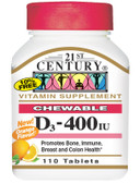 Buy Chewable D3 Orange Flavor 400 IU 110 Tabs 21st Century Health Online, UK Delivery, Vitamin D3