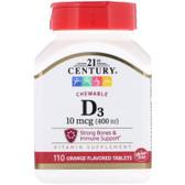 Buy Chewable D3 Orange Flavor 400 IU 110 Tabs 21st Century Health Online, UK Delivery, Vitamin D3