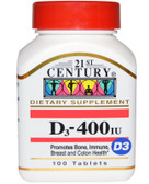 Buy D-400 100 Tabs 21st Century Health Online, UK Delivery, Vitamin D3