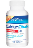 Buy Calcium Citrate Maximum + D3 120 Caplets 21st Century Health Online, UK Delivery, Bone Osteo Support Formulas