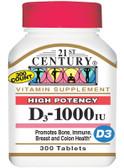Buy D3 1000 IU 300 Tabs 21st Century Health Online, UK Delivery, Vitamin D3