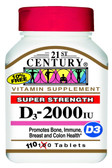Buy D-2000 D3 Maximum Strength 110 Tabs 21st Century Health Online, UK Delivery, Vitamin D3