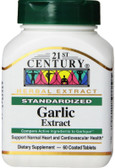 Buy Garlic Extract Standardized 60 Coated Tabs 21st Century Online, UK Delivery, Natural Immune