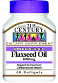 Buy Flaxseed Oil 1000 mg 60 sGels 21st Century Health Online, UK Delivery, EFA Omega EPA DHA